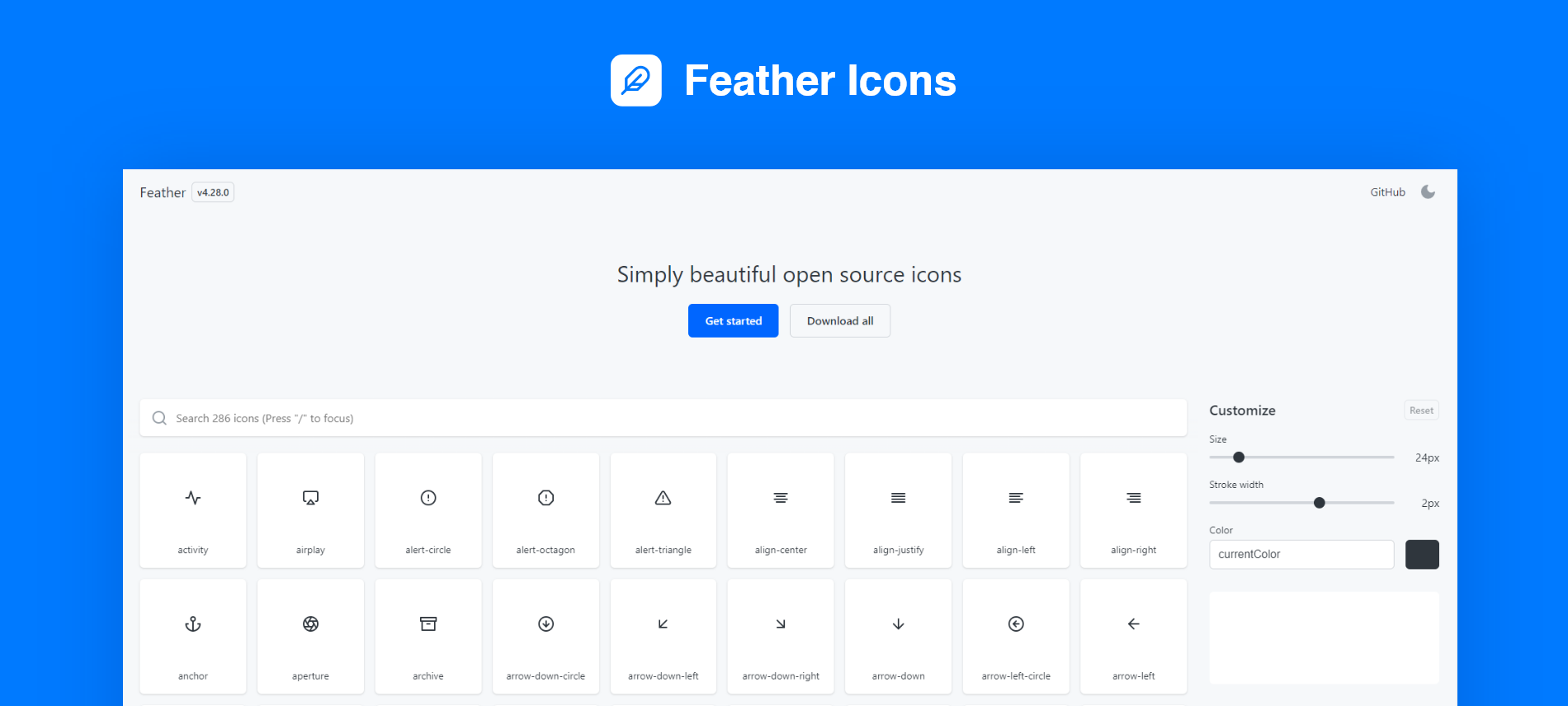 elementor Feather icons