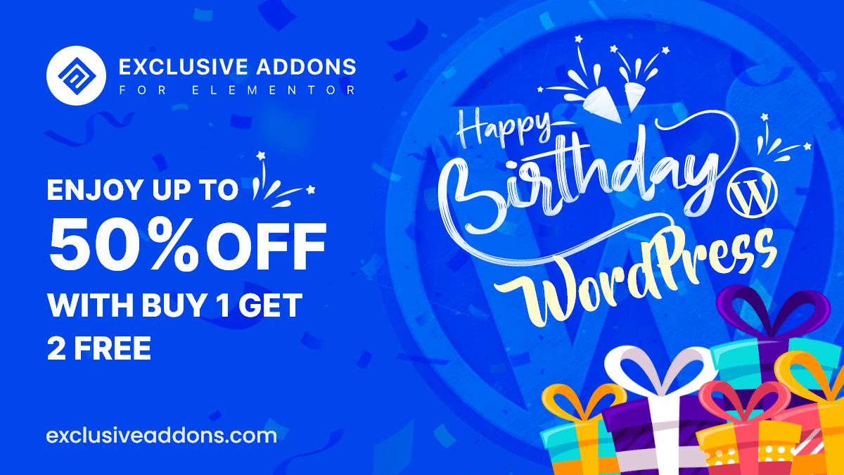 wordpress 18th birthday offer for elementor