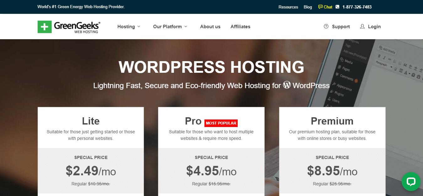 GreenGeeks Hosting for wordpress
